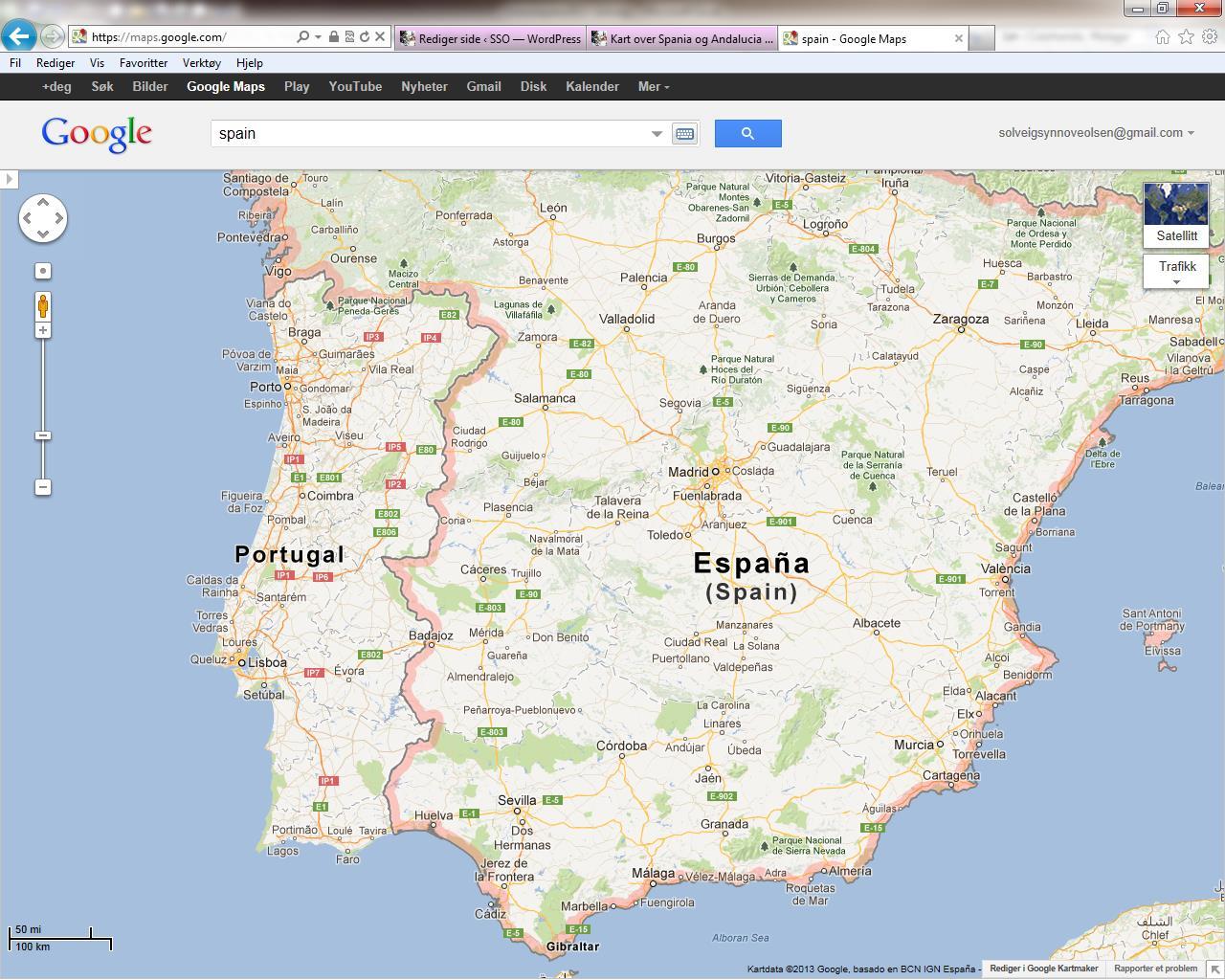 kart over spania Kart over Spania og Andalucia | SSO kart over spania